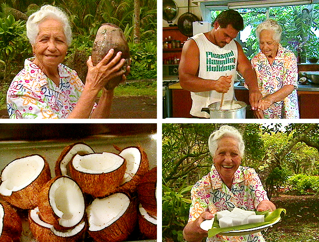 Helen Lee Hong, Larry Kimura, Hawaiian language, Hawaiian culture, coconuts, haupia, Hawaiian food, Hawaiian diet, Sammy Keliihoomalu
