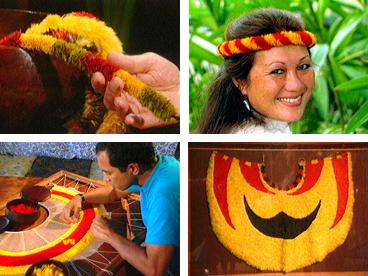 Hawaiian art, feather work, Ipo Nihipali, John Dominis Holt, lei hulu, ahuula, feather cloaks, feather lei